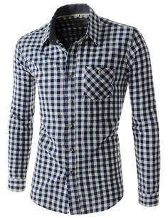 (HAL20-NAVY) Mens Slim Fit Checker Pattern 1 Chest Pocket Long Sleeve Cotton Shirts