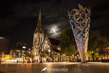 Cathedral Square at night with the Christchurch Cathedral and the Chalice Sculpture (by Neil Dawson) Canterbury, New Zealand - between 1st and 2nd earthquake