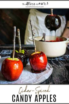 Traditions… that's what the holidays are all about right? One of my family's favorite holidays is Halloween and this year we added a new tradition to our annual line up, making this homemade cider spiced candy apples recipe!! Don't be intimidated....this recipe is WAY easier than you would think! Trick or treat! #halloween #candyapples #thismessisours @calapple @cagrown @stemilt Homemade Cider, Spooky Food, Candy Apples, Apple Recipes, Favorite Holiday, Trick Or Treat, Cherry, Spices, Treats
