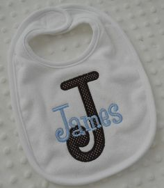 Appliqued personalized baby Bib with initial by mylittlehedgehog, $8.99