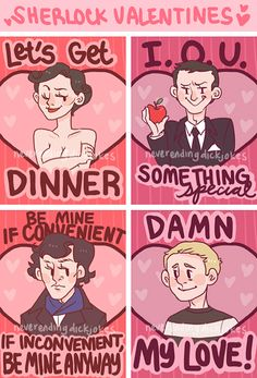 Sherlock Valentines by neverendingdickjokes feb 2013 or (same here mycroft. -Every aroace ever) Sherlock Fandom, Sherlock Holmes, Sherlock John, Sherlock Kiss, Watson Sherlock, Jim Moriarty, Sherlock Quotes, Johnlock, Valentines Design