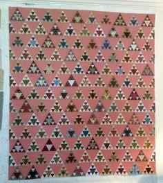 "Panama Pyramids, templates by Linda Collins. Machine pieced. 60x65"" LS."