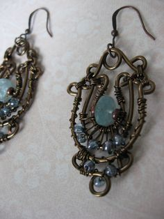 Blue Haze Wire Wrapped Earrings by LeahDAmour on Etsy, $30.00