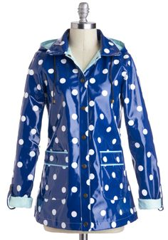 Rain Dots Keep Falling Raincoat by Yumi - Blue, Green, White, Polka Dots, Pockets, Casual, Long Sleeve, Mid-length, 1
