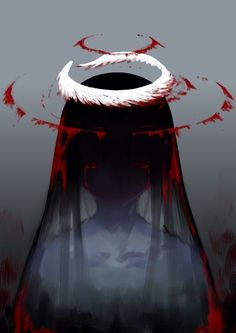 Anime picture with original jaco long hair single tall image looking at viewer black hair red eyes simple background grey tears upper body crying blood on face girl blood halo Art Manga, Anime Art Girl, Dark Anime Art, Anime Girls, Fanarts Anime, Anime Characters, Anime Negra, Sad Art, Creepy Art