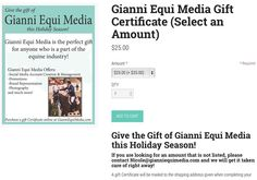Do you know a business owner who could use some social media help? Give the gift of Gianni Equi Media this holiday season! There are gift certificates of various amounts available! Visit GianniEquiMedia.com to purchase a gift certificate or give yourself a holiday gift and order a social media account startup online! #equinepromotions #AgPromotions #socialmedia #promos #gem