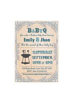 BabyQ Baby Shower BBQ invitation couples  boy by jonyba on Etsy, $6.90
