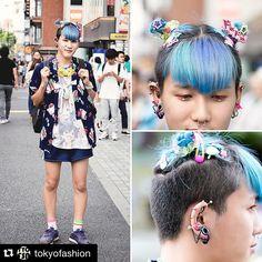 #Repost @tokyofashion with @repostapp. ・・・ @hanajiogita on the street in Harajuku with blue-green hair and piercings, a Hello Kitty jacket from Kinji Harajuku over a Park Harajuku manga-print t-shirt, Reebok sneakers with mismatched socks, and cute 6%DOKIDOKI hair accessories. Kanata works at 6%DOKIDOKI in Harajuku in case you ever want to stop in and meet him!