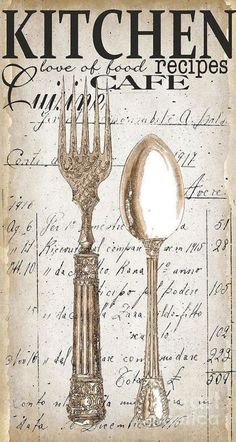 Antique Utensils For Kitchen And Dining In White Art Print by Grace Pullen. All prints are professionally printed, packaged, and shipped within 3 - 4 business days. Choose from multiple sizes and hundreds of frame and mat options. Decoupage Vintage, Vintage Diy, Vintage Labels, Kitchen Art, Vintage Kitchen, Kitchen Dining, Grace Kitchen, Kitchen Utensils