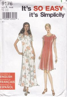 New Sewing Pattern Simplicity 9176 It's So Easy Pullover Slip Dress 2004 Uncut Misss size 10 12 14 16 18 20 Bust 32 34 36 38 40 by LanetzLiving on Etsy Evening Dresses Plus Size, Summer Dresses, Coat Patterns, Simplicity Sewing Patterns, Short Girls, American Girl, Size 10, Pullover, How To Wear