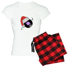 MoonDreams Santa Hat Record Pajamas by #MoonDreamsMusic #ChristmasPajamas #SantaHat #VinylRecord #RetroRecord