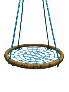 """SkyBound Giant Round 40"""" Tree Swing Net- Tan and Blue (NS-100-TANBLU)  Descriptions: SkyBound's giant round tree swing net provides hours of fun for people of"""