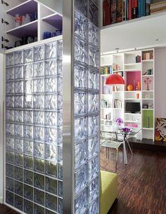 Beauty of Acrylic Bookcase Design Diy Custom Closet, Custom Closets, Acrylic Bookcase, Glass Blocks Wall, Glass Brick, Glass Room, Narrow House, Wooden Shelves, Interior Walls