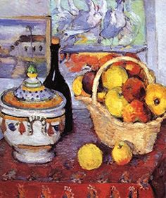 Still Life with Soup Tureen, by Paul Cezanne, 12x18-inch Poster, Heavy Stock Semi-Gloss Paper Print, Black Frame by ArtParisienne