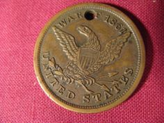 61st NY Regiment Civil War Dog Tag Identification Disc R Noubourn Co F WIA |