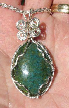 Chrysocolla Jasper, Cabachon wirewrapped Pendant in silver. by johnchapman3 on Etsy