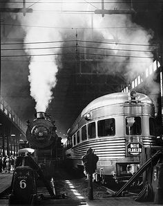 Andreas Feininger photo of Dearborn Station, c.1941, Chicago. Juxtaposition of the old and the new. Choo-Chooooo!