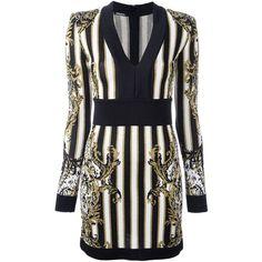Balmain striped baroque dress ($1,896) ❤ liked on Polyvore featuring dresses, black, v-neck dresses, back zipper dress, zip back dress, pattern dress and stripe dresses