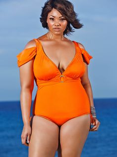 Anguilla Cold Shoulder Plus Size Swimsuit - I definitely can't afford this, but it's gorgeous