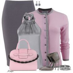 Pink & Grey by anna-campos on Polyvore featuring мода, Thom Browne, Sergio Rossi, Sonia Rykiel, David Yurman and Roman