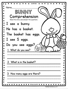 BUNNY COMPREHENSION - easy way to practice comprehension - kindergarten worksheet - kindergarten literacy activity for easter and spring #kindergarten #easter