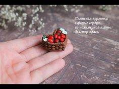 Wicker basket in the shape of a heart made of polymer clay - all about polymer clay