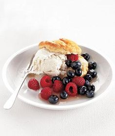 Berry and Ice Cream Shortcakes - this would be soo good  made with my favorite store bought biscuits - Pillsbury Homestyle Honey Butter Biscuits