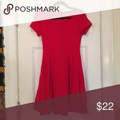 Simple red dress Never worn. Falls just above the knees. 95% cotton/5% spandex. Brand is mezzanine. J. Crew Dresses Midi