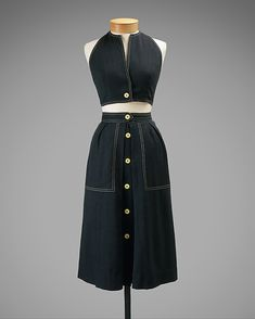 Ensemble Claire McCardell (American, Manufacturer: Townley Frocks (American) Date: 1944 Culture: American Medium: cotton, rayon 1940s Fashion, Modern Fashion, Vintage Fashion, Fashion Design, Claire Mccardell, 1950s Style, Vintage Outfits, Vintage Dresses, 40s Mode