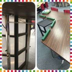 classroom trapezoid table. used zip ties to connect trapezoid tables together as one!! classroom table