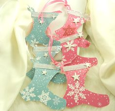 6 Santa Claus Christmas Booties in Snowflake Pink