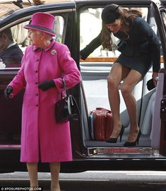 Short work: Kate goes for another high-rise hemline as the Queen sets the pace in her customary style