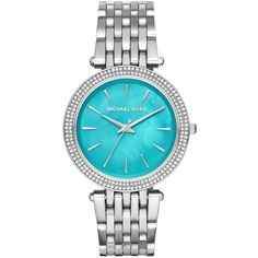 Michael Kors Watches, Darci Watch Silver-Tone Turquoise (3.578.055 IDR) ❤ liked on Polyvore featuring jewelry, watches, silvertone jewelry, silver tone jewelry, studded jewelry, blue turquoise jewelry and michael kors jewelry