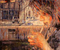 "I love this painting, pretty cool! By Henri Lamy; ""Charlotte à la cigarette"" #art #painting"