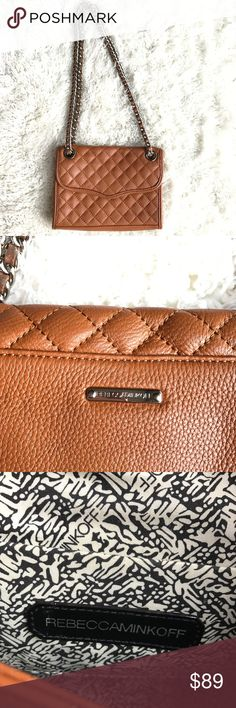SALERebecca Minkoff Mini Quilted Affair super adorable Rebecca Minkoff Mink Quilted Affair Bag in color brown-orange. perfect for fall! can be worn as a shoulder bag or as a crossbody! flaws are shown in pictures above. Rebecca Minkoff Bags Crossbody Bags
