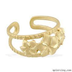 toe rings | 14k real yellow gold triple flower toe ring
