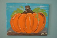 Pumpkin Canvas Painting Fall Painting by ArtBySarahSavage Pumpkin Canvas Painting, Fall Canvas Painting, Autumn Painting, Autumn Art, Painting For Kids, Diy Painting, Fall Paintings, Canvas Paintings, Simple Paintings