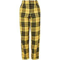 Designer Clothes, Shoes & Bags for Women Kpop Fashion Outfits, Stage Outfits, Cool Outfits, Tartan Pants, Jeans Pants, Tartan Plaid, Yellow Pants, Brown Pants, Checked Trousers
