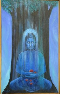 """""""Destroy negative thoughts when they first appear. This is when they are the weakest."""" ~ Songide Makwa Picture by: Mona Hinduja Title: The Enlightened One Buddha Painting, Buddha Art, Buddha Peace, Gautama Buddha, Buddhist Philosophy, Buddhist Meditation, Sacred Art, Spirituality, Street Art"""