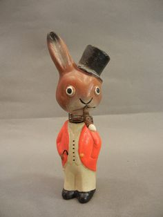 Original Antique Vintage Paper Mache Easter Bunny Toy Rabbit Nodder Bobblehead   eBay