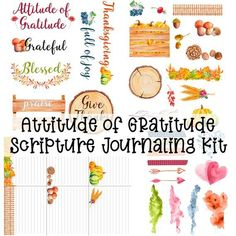 Printable elements for Bible journaling on the theme of gratitude.  This kit includes: - 6 journaling cards - 7 word art elements - 27 image elements  This item is a digital download. You will NOT receive any physical products.  This kit can be printed on your choice of regular or sticker paper. Scripture Study, Printable Scripture, Bible, Email Subject Lines, Serenity Prayer, Attitude Of Gratitude, Christian Living, Custom Logo Design, Journal Cards