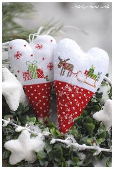 heartmade- cross stitch reindeer, sled & gifts on a stuffed red & white polka dot heart ornament