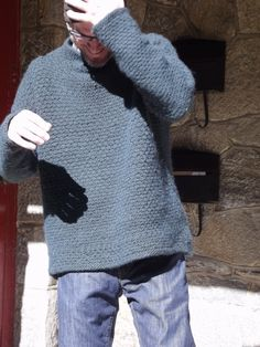 my cute bf modeling the sweater i knit him