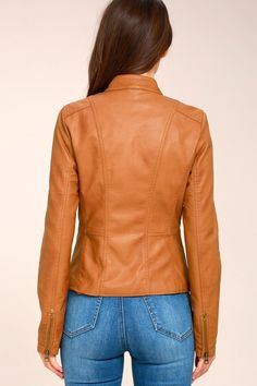 Peace of Mind Tan Vegan Leather Moto Jacket 5