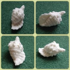 Crochet sea shell, made it this afternoon. Recommended, very easy to whip up in an hour