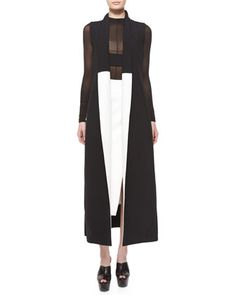 Sculptural Fashion // Colorblock Shawl-Collar Long Vest & Side-Slit Scuba Crepe Midi Skirt by Narciso Rodriguez Architectural Clothing, Black And White Shoes, Long Vests, Sculptural Fashion, Modern Outfits, Fall Trends, Designer Collection, Latest Fashion Trends, Shawl