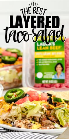 #ad This simple layered taco salad is loaded with flavor! Laura's Lean Ground Beef, tomatoes, beans, lettuce, taco seasoning, onion, black olives, cheese, sour cream, and tortilla chips are put together for a hearty and tasty dinner option the whole family will love. Perfect for busy weeknight dinners or to take along to a potluck, this is a family favorite worth saving! #LaurasLean Easy Delicious Recipes, Fun Recipes, Delicious Food, Tasty, Easy Weeknight Dinners, Quick Easy Meals, Layered Taco Salads, Shredded Chicken Tacos, Easy Recipes For Beginners