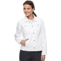 Petite Croft & Barrow® Jacket ($30) ❤ liked on Polyvore featuring outerwear, jackets, petite, white, petite jackets, petite white jacket, white jacket, four pocket jacket and layered jacket
