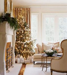 Decoration, Elegant Christmas Decoration Ideas With Gold Christmas Tree And Fire Place At Living Room: Mesmerizing Christmas Tree Decorating Design Ideas For Your Home Gold Christmas Tree, Elegant Christmas, Merry Little Christmas, Beautiful Christmas, Christmas Home, Christmas Holidays, French Christmas, Xmas Tree, Christmas Morning
