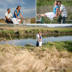 Newport Beach, CA back bay engagement photography idea, tandem bicycle, field, flowers, weeds, beach, Gilmore Studios